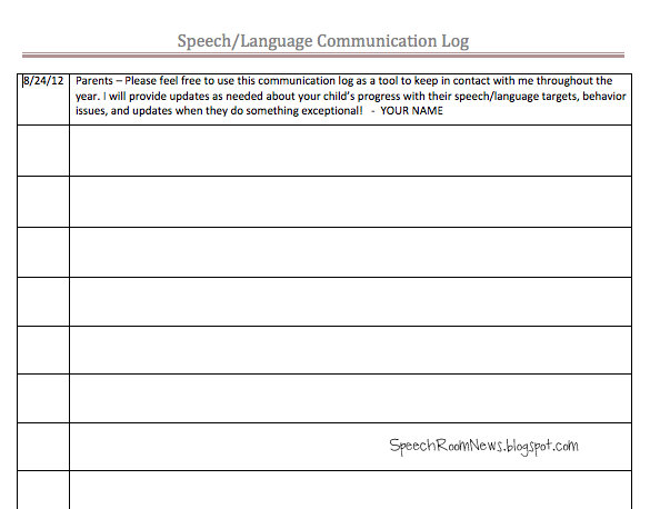 Parent Communication Ideas Speech Room News – Communication Log Template