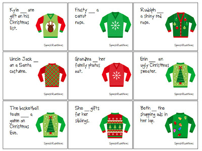 Ugly Christmas Sweater HAVE/HAS Cards (18 cards) Students read the ...