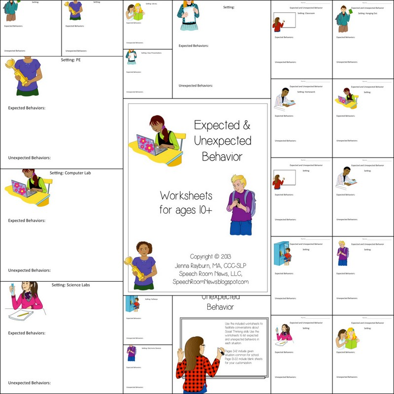 Expected Unexpected Behavior Worksheets Speech Room News – Social Thinking Worksheets