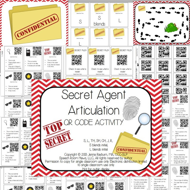 Secret Agent Articulation: QR Code Activity {with freebie}