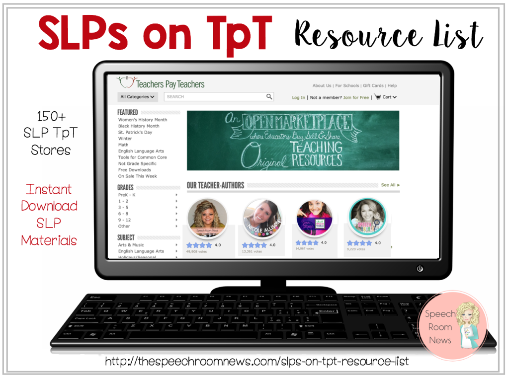 SLPs on TpT Resource List