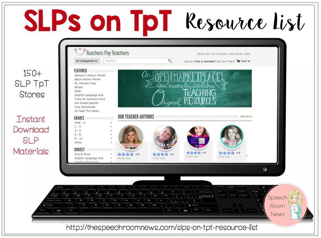 SLPs on TpT Resource List