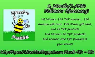 Speechie Freebies { 1000 Follower Giveaway}