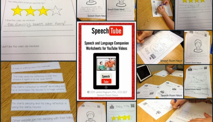 Speech Tube: You Tube Companion Worksheets for Speech and Language