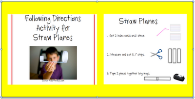 Straw Planes Receptive Language Activity