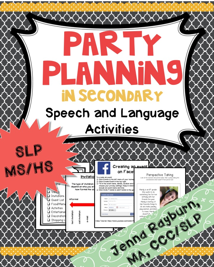 Party Planning Therapy Activity - Speech Room News