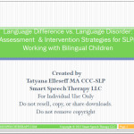 Evaluating English Language Learners for Speech and Language Services