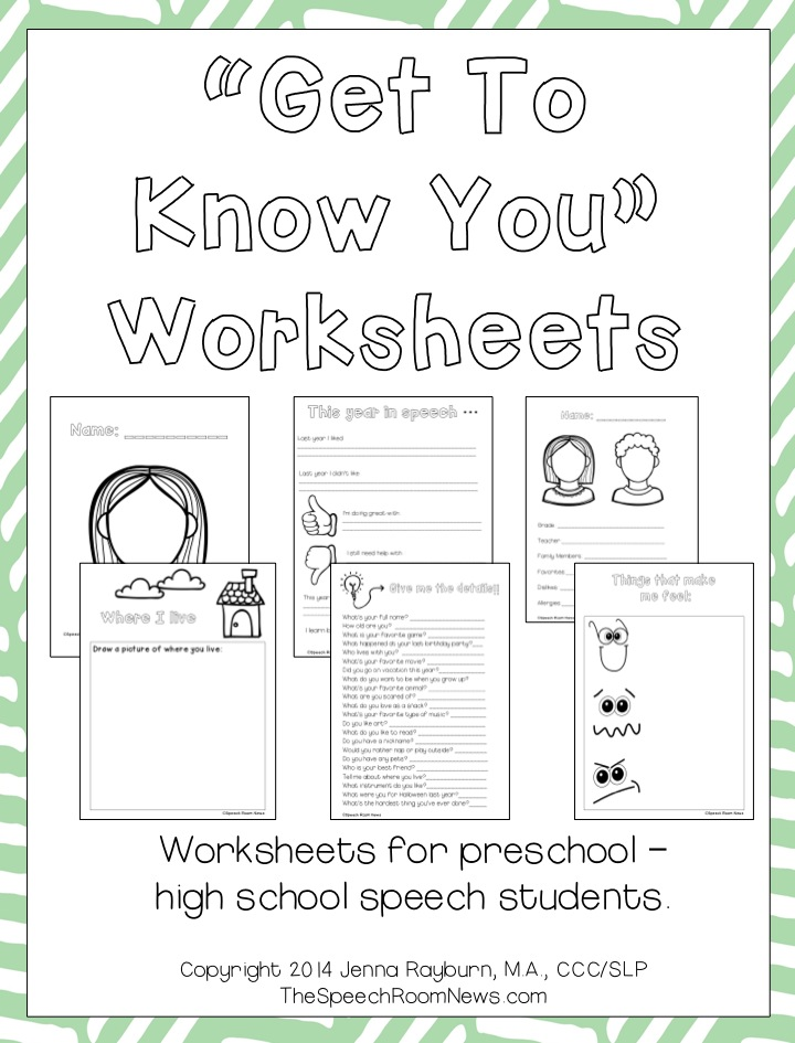Get to Know You Packets for Speech Therapy Speech Room News – Getting to Know You Worksheet