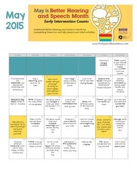 Better Hearing and Speech Month Calendar Freebie