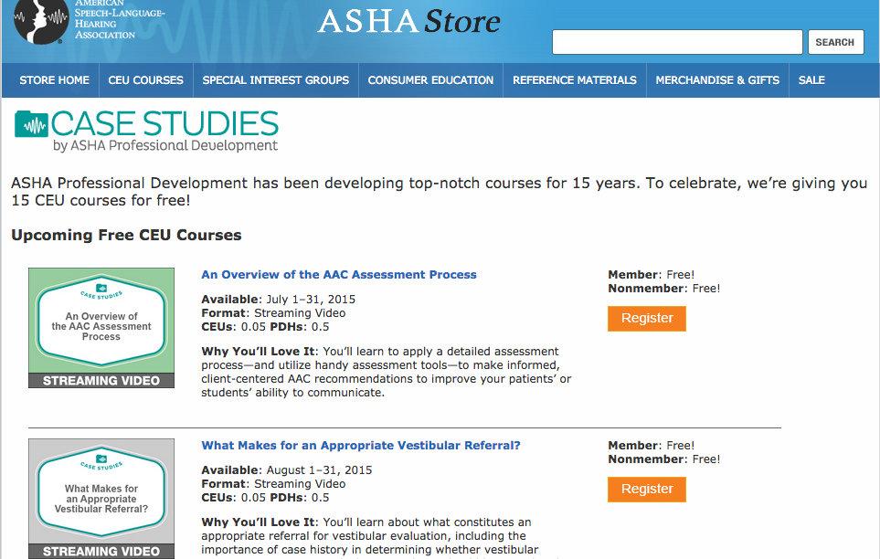 ASHA Store Free CEUs