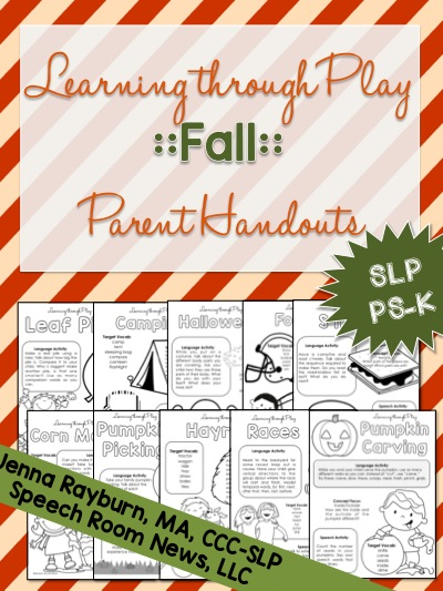 Learning Through Play parent handouts for FALL