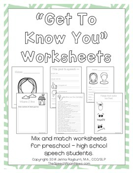 Speech and Language Get to Know You Worksheets