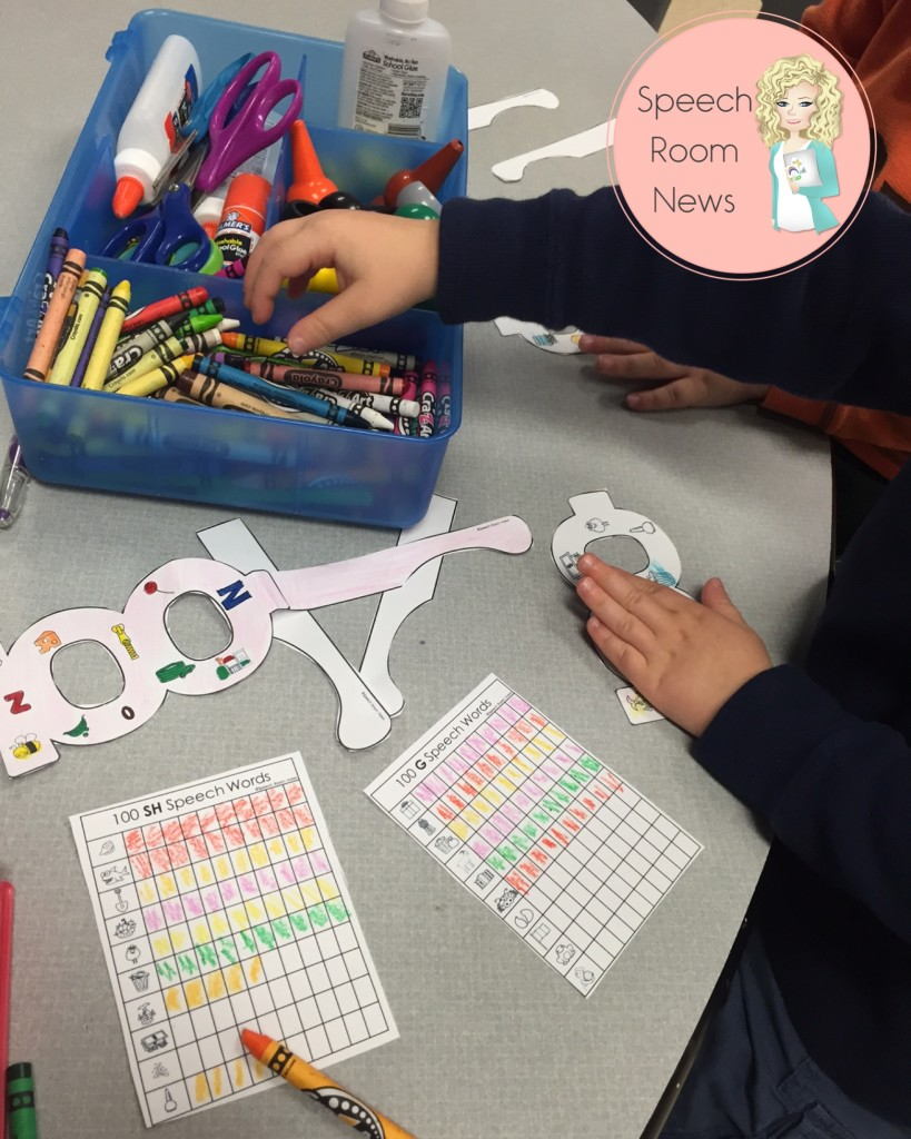Making 100th Day crafts in spech