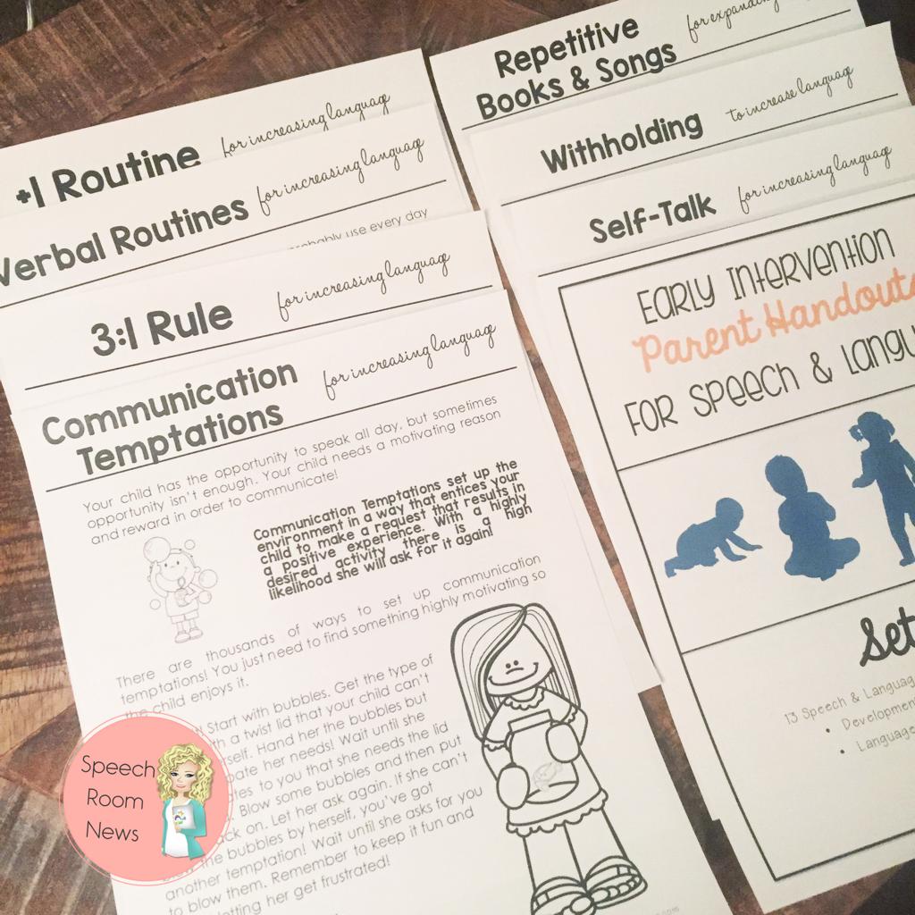 Early Intervention Parent Handouts For Speech Language Development Speech Room News
