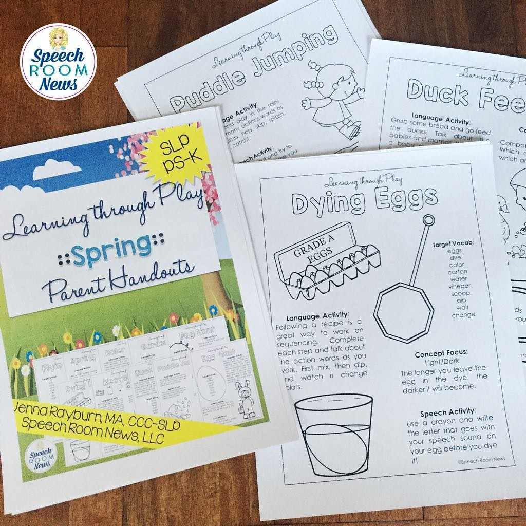 Learning Through Play: Spring Parent Handouts from Speech Room News