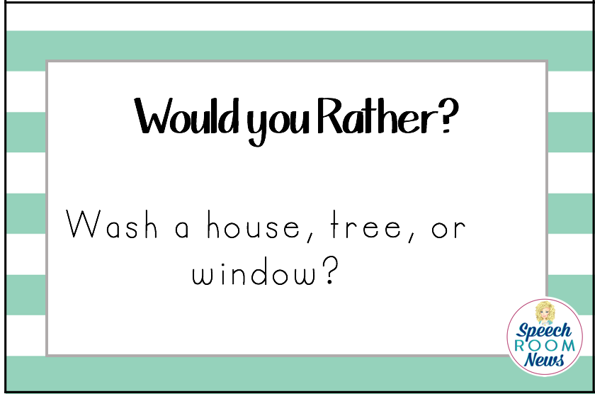 SLP Would You Rather Game from Speech Room News