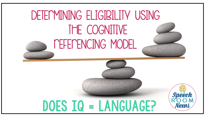 Speech Therapy Eligibility: Cognitive Referencing: