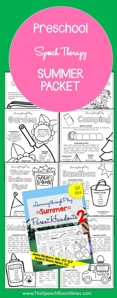 Preschool Speech Therapy Summer Packets