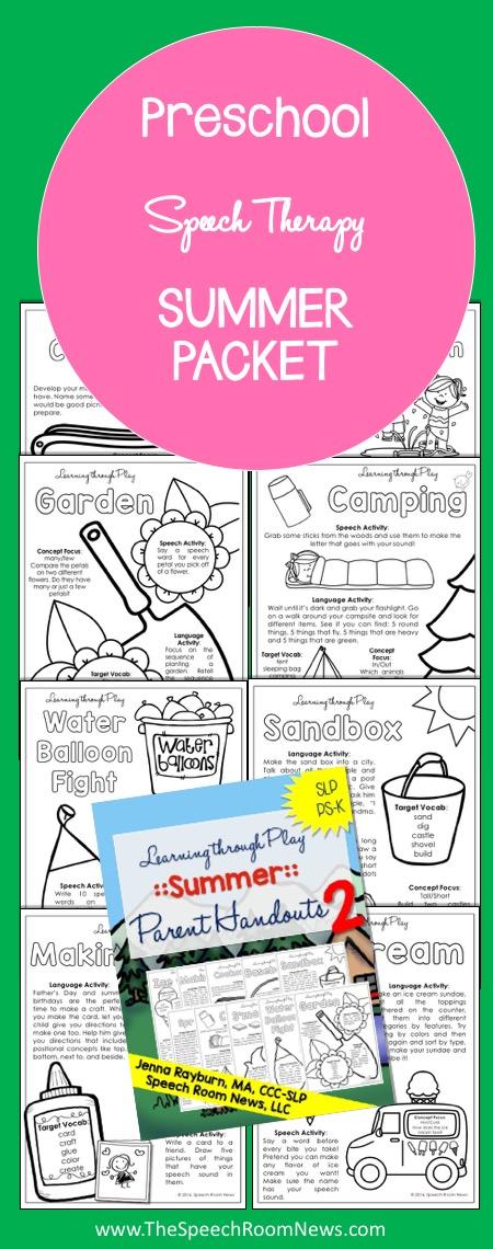 Preschool Speech Therapy Summer Packet