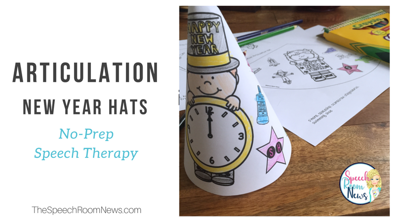 No-Prep New Year's Articulation Hats