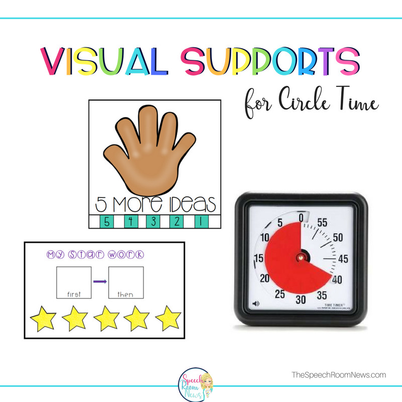 Visual supports for special needs children at circle time.
