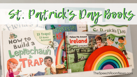 St. Patrick's Day Books on a shelf.