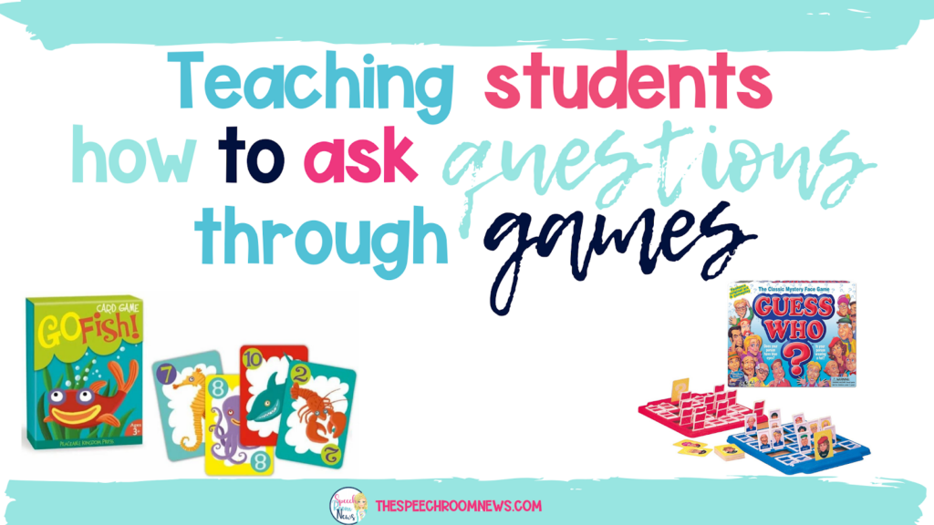 "Describes ""teaching students to ask questions through games"" and shows pictures of kids games"