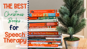 Stack of Christmas Books for Speech Therapy